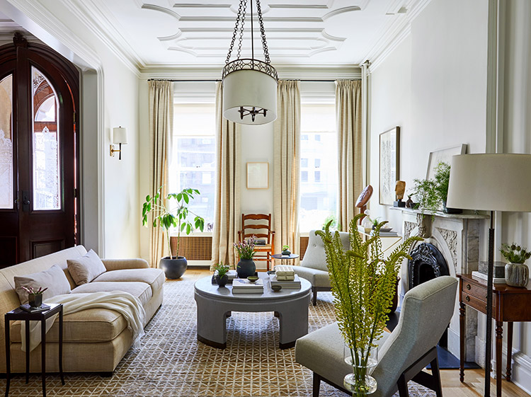 Fine Tuning A Vintage Townhouse In Hoboken New Jersey Houzz Living Room Living Room New York Contemporary Living Room Design