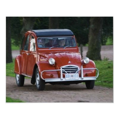 An Old Red Citroen 2cv Car With A Smiling Woman Poster Zazzle Com Citroen 2cv Citroen Car