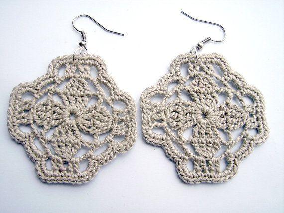 Crochet earrings gray square   Crochet earrings, Crochet ...