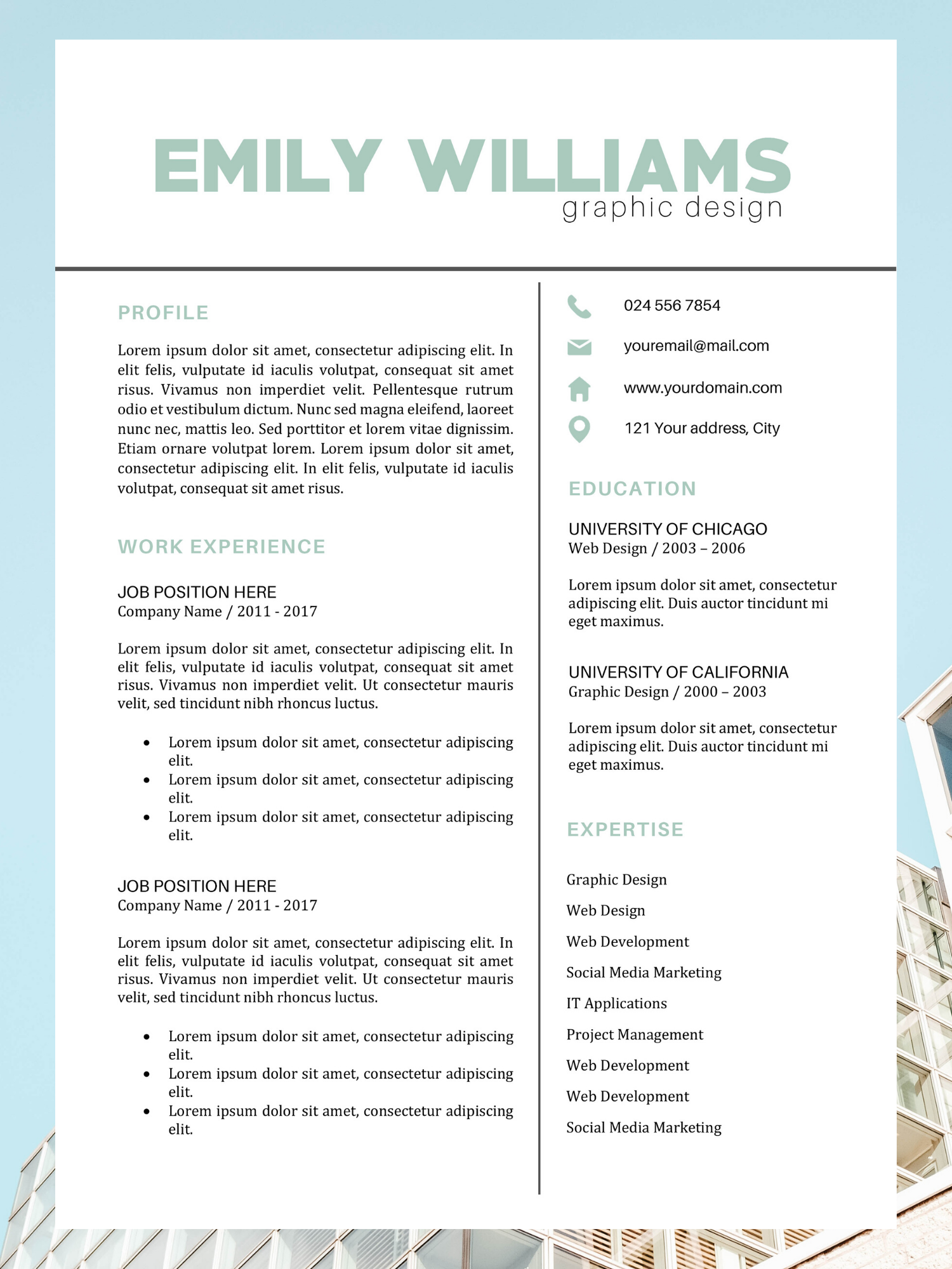 Color Resume Template Best CV Design Emily Williams in