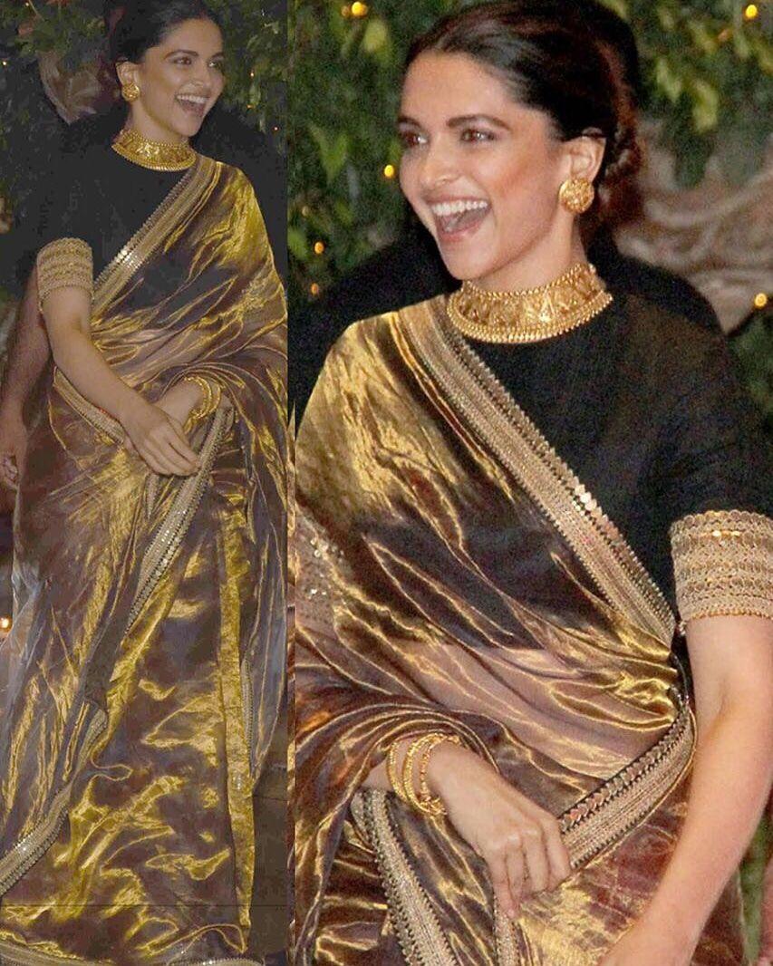 Deepika Fame Golden Embroidered Saree Product Info Ds No Bt 161 Pallu Scut Tishiy Bollywood Designer Sarees Indian Saree Blouses Designs Stylish Sarees