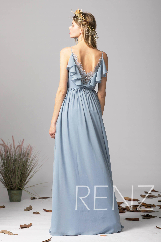 Bridesmaid dress dusty blue chiffon dresswedding dressv neck