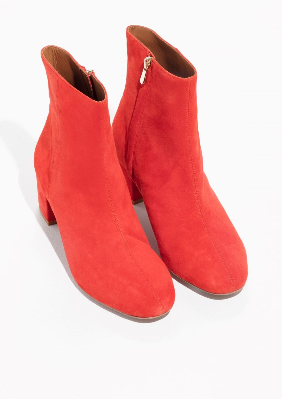 7f2f2fd643c & Other Stories image 2 of Suede Ankle Boots in Red | Shoes ...