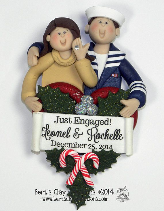 Military Engagement Ornament by BertsClayCreations on Etsy