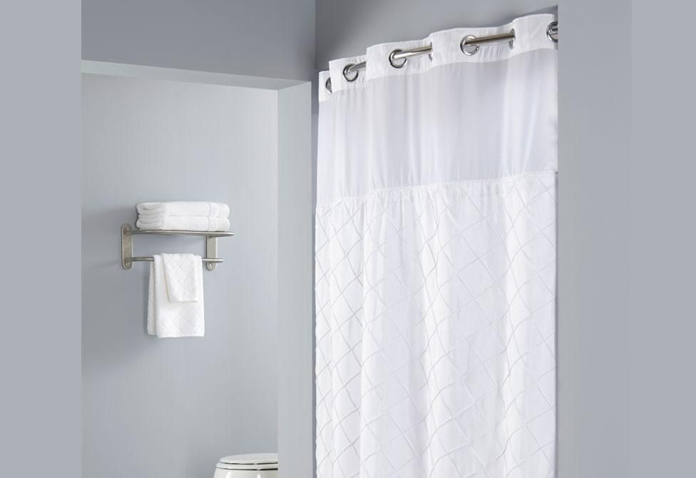 Hookless Pintuck Shower Curtain Includes Snap On Off
