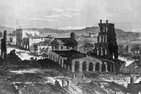 Ruins of Lawrence following the Lawrence Massacre (1863). The Massacre and the Civil War is a significant part of Lawrence's identity.
