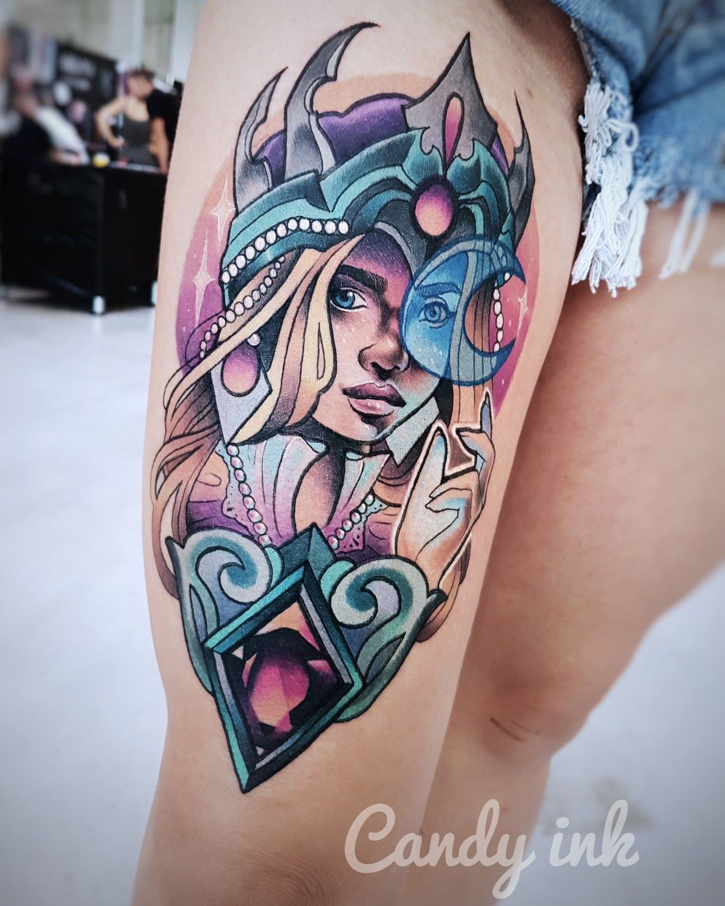 Neo Traditional New School Girly Witch Tattoo Moon Magic Custom Design Neo Traditional Tattoo Traditional Tattoo Tattoos