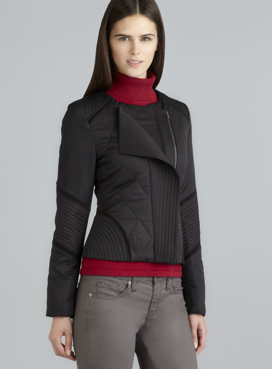 7cfd4160b1e Athena Marie - Black Quilted Asymmetrical Zip Moto Jacket www.loehmanns.com   64.99