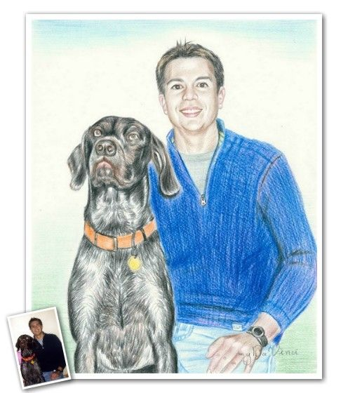 Hand Drawn Color Pencil from Photos - A man and his best friend....there's never been any better man cave decor. Unless, of course, they both had Guinness hats on. :)