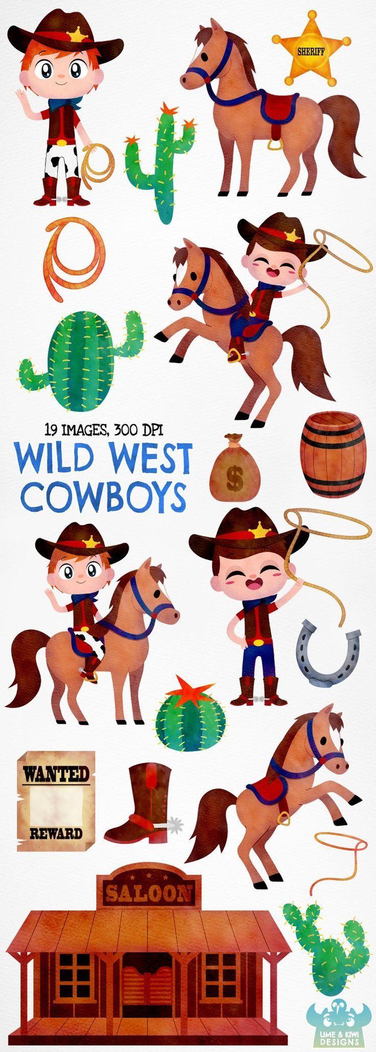 Wild West Cowboys Watercolor Clipart, Instant Download
