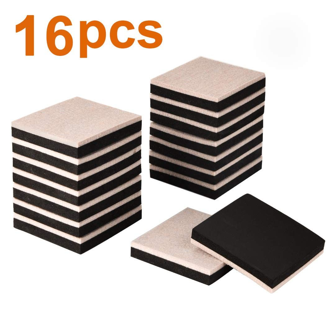 Ezprotekt 16pcs Furniture Sliders 3 5 Inch Square Felt Sliders Reusable Furniture Moving Pads For Hardwood Furniture Sliders Furniture Moving Pads Moving Pads