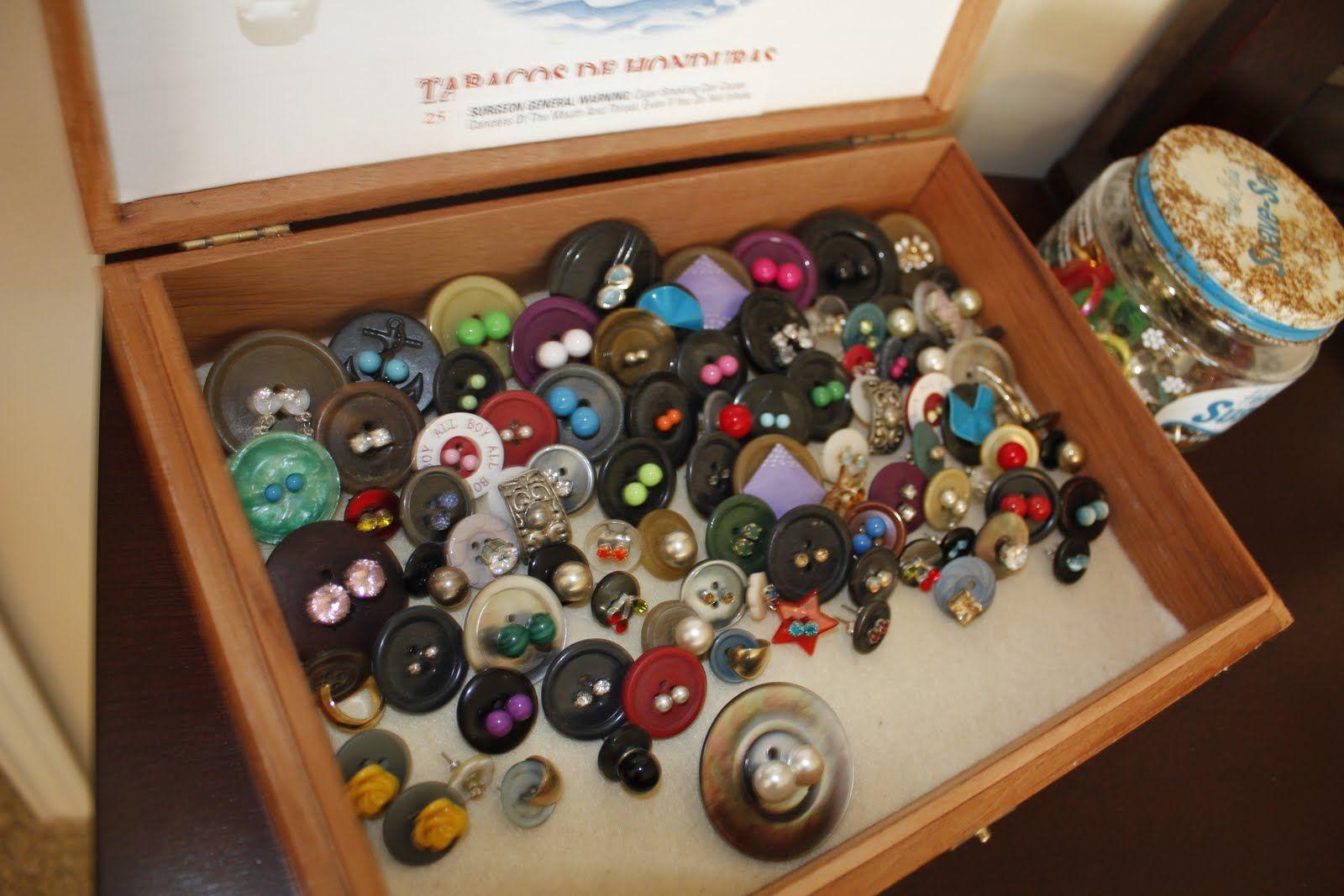 Earring studs wbuttons jewelry wall diy earring holder