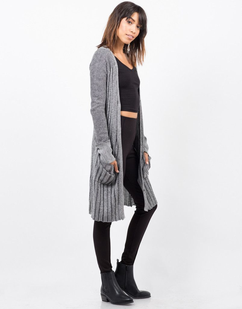 RIbbed Knit Button Down Cardigan - Grey Cardigan - Oversize – Outerwear – 2020AVE  #2020AVEXFALL