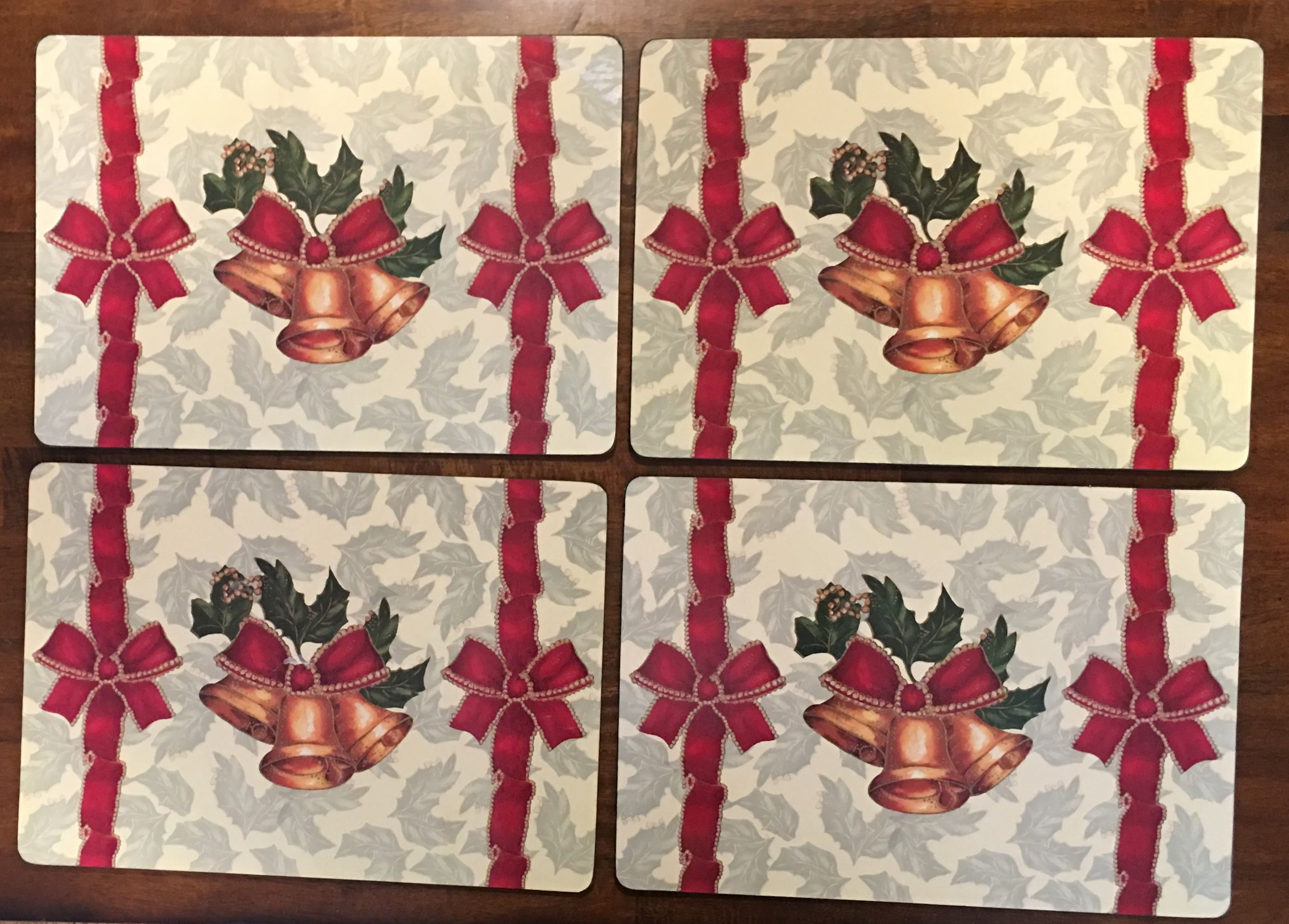 Placemats, Set Of 4 Cork Backed Placemats Christmas Placemats Christmas Bells