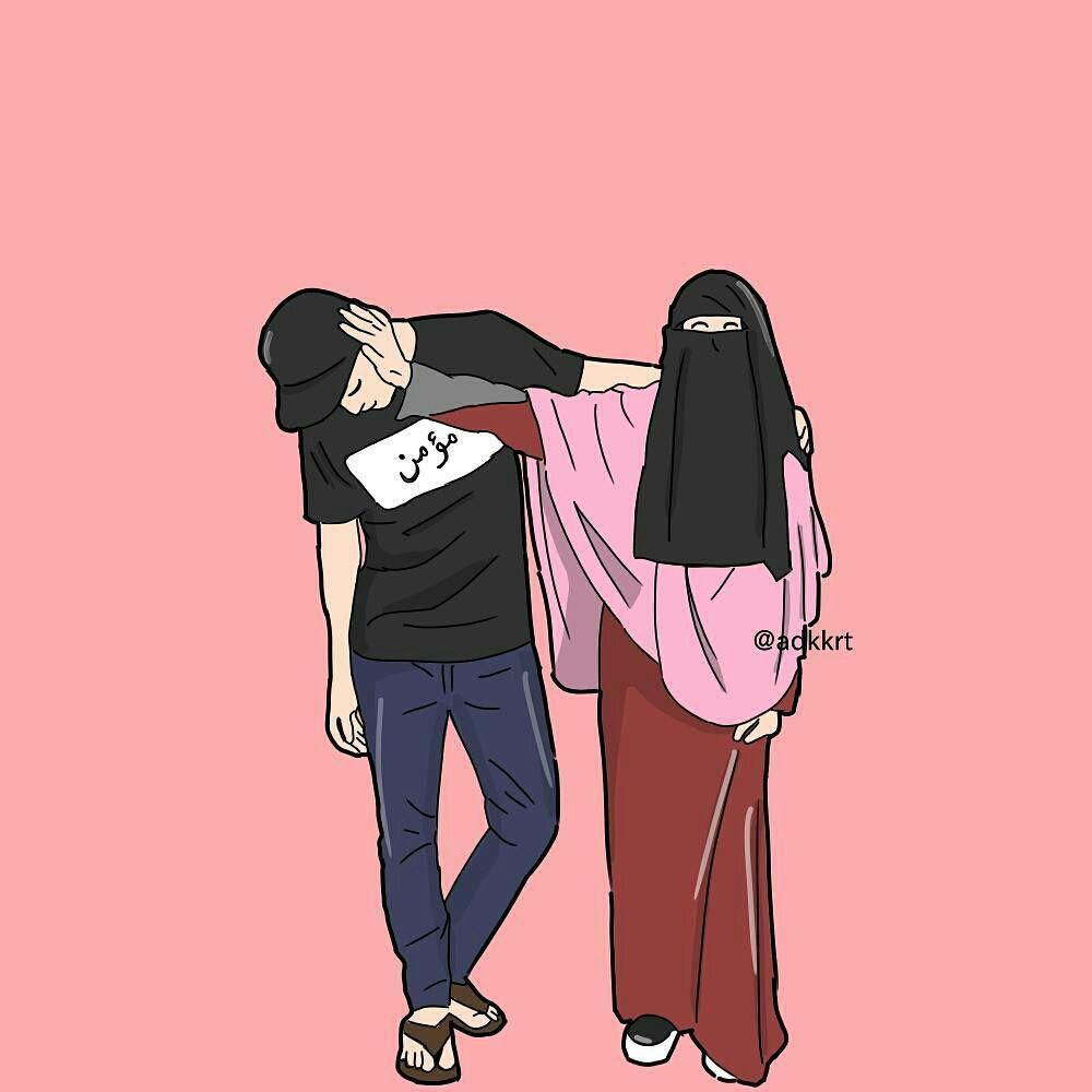 Рисунки девушек в хиджабе с парнем