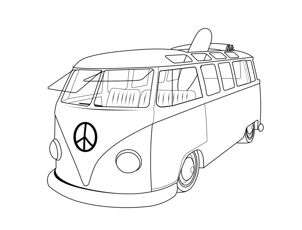 Vw Van Coloring Pages Volkswagen Bus Vw Bus Volkswagen