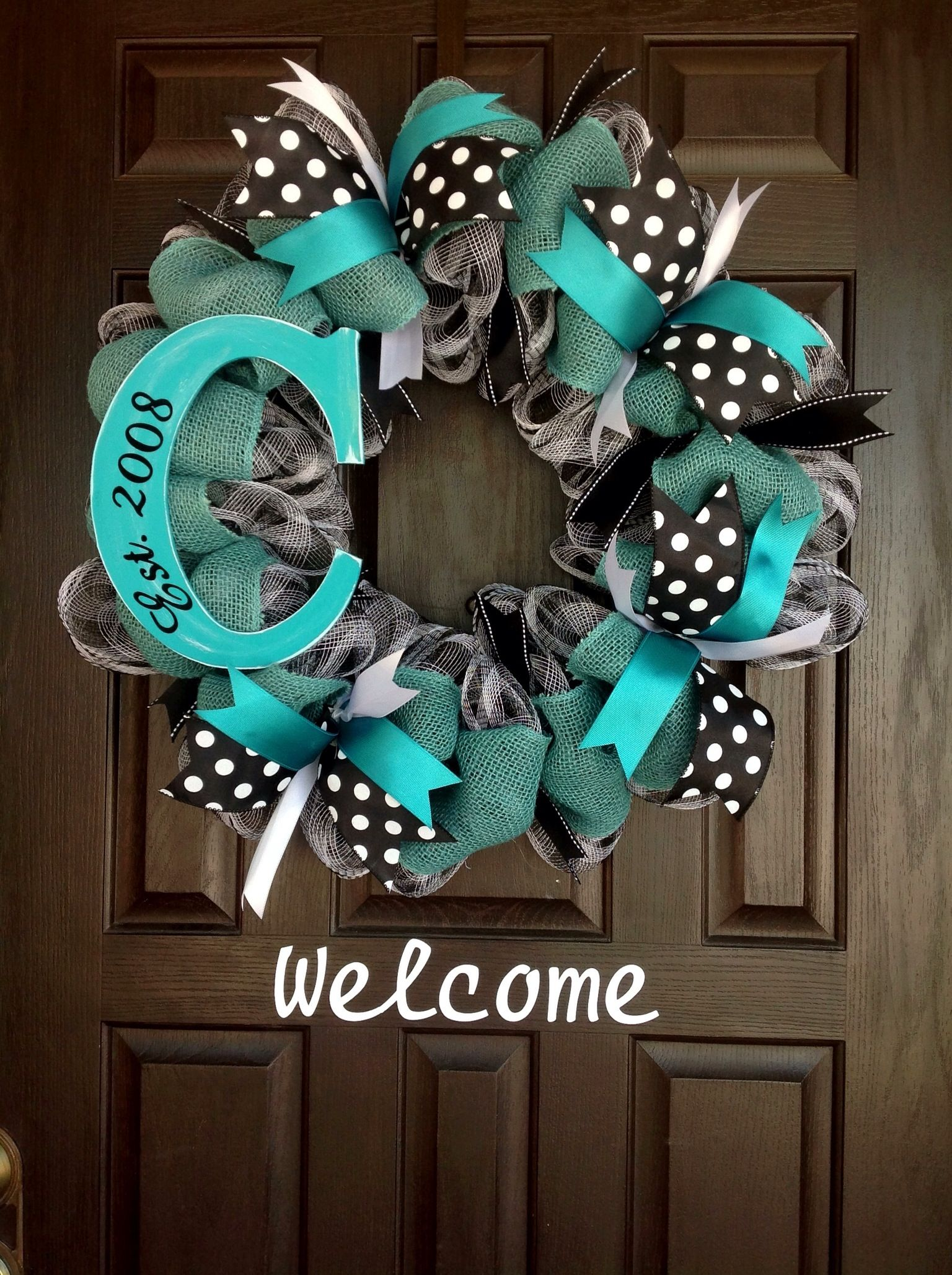 Teal And Black Wreath By J Wolfe Brown Door Wreathore