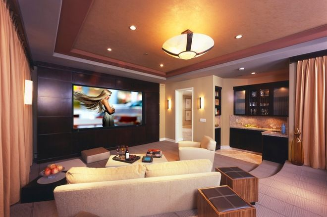 Houzz Living Room Kitchen Partition How To Get A Big Movie Experience In A Smaller Space Home Theater Room Design Home Theater Design Theater Room Design
