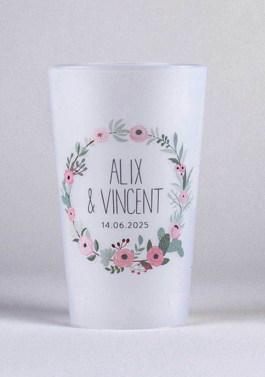 Faire Des Gobelets Personnalisés gobelet mariage personnalisé fleuri rose personnalisé en