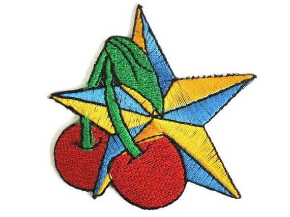 Rockabilly nautical star cherries patch embroidered iron on applique