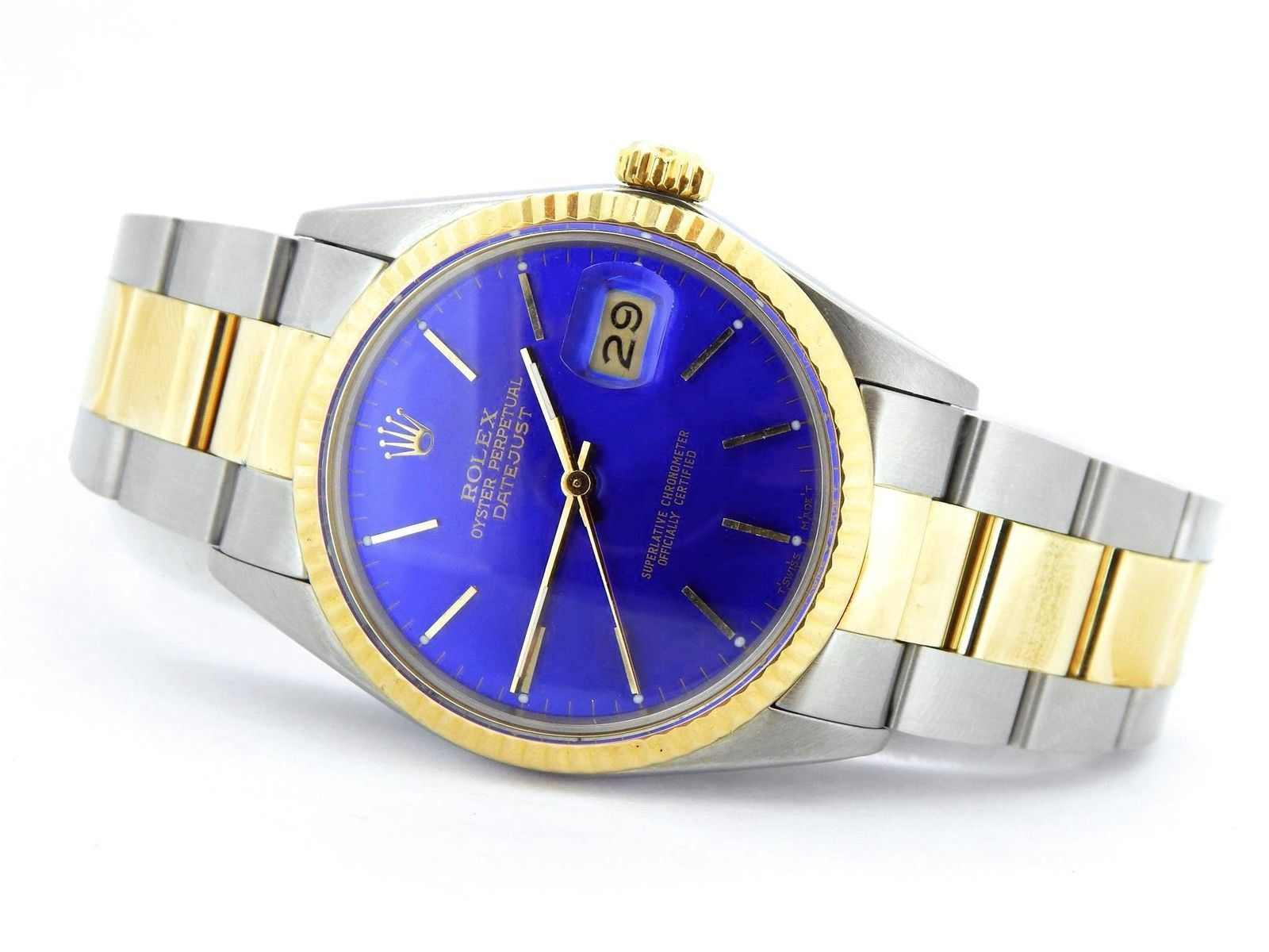 Rolex Datejust 16013 Mens Stainless Steel Yellow Gold Watch Quickset Blue Dial Luxury Watches For Men Rolex Datejust Gold Watch