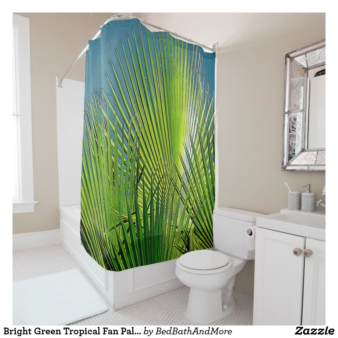 Bright Green Tropical Fan Palms Shower Curtain