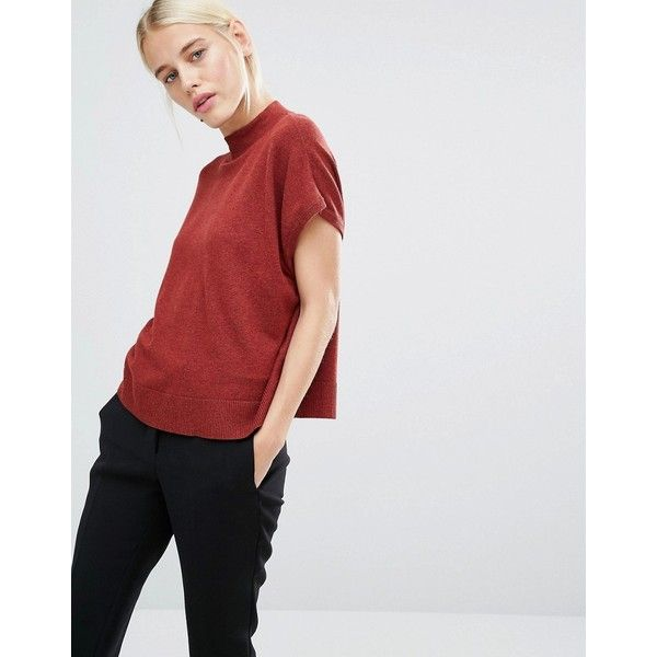 27581754c47 Monki High Neck Knitted T-Shirt ( 24) ❤ liked on Polyvore featuring tops