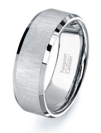 Tungsten ring wedding band mens tungsten carbide by TungstenOmega, $46.95