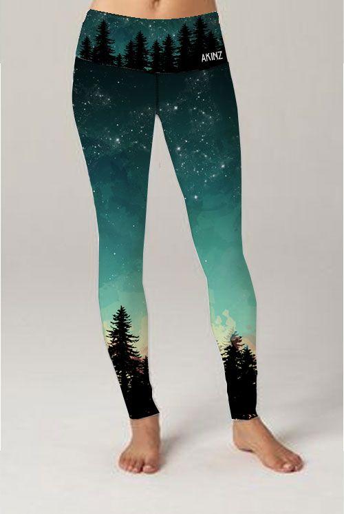 3631aeec1053e Sustainable outdoor yoga pants | Into the Woods leggings | Aurora Borealis  leggings | MADE IN USA