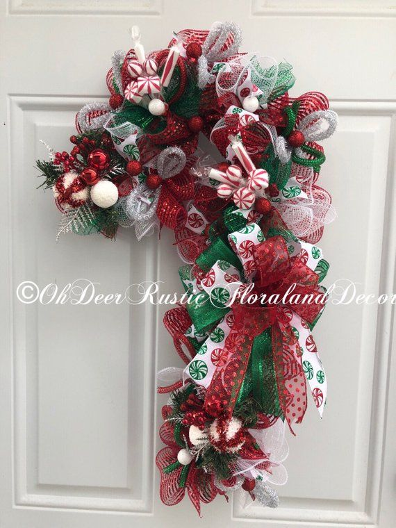 Candy cane wreath Christmas Candy cane Jingle Bells Red, Green