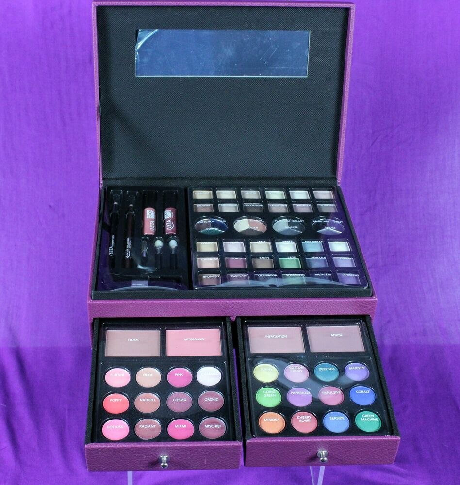 Ulta Beauty 75 Piece Makeup Kit Set Purple Case Lip Gloss