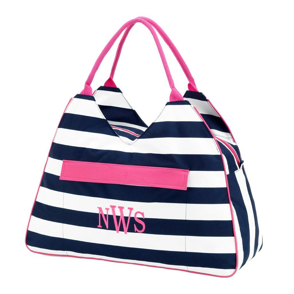 0b0704c3ea Navy Blue or Red Stripe Print Beach Tote Accessory Bag – brand name leather  handbags