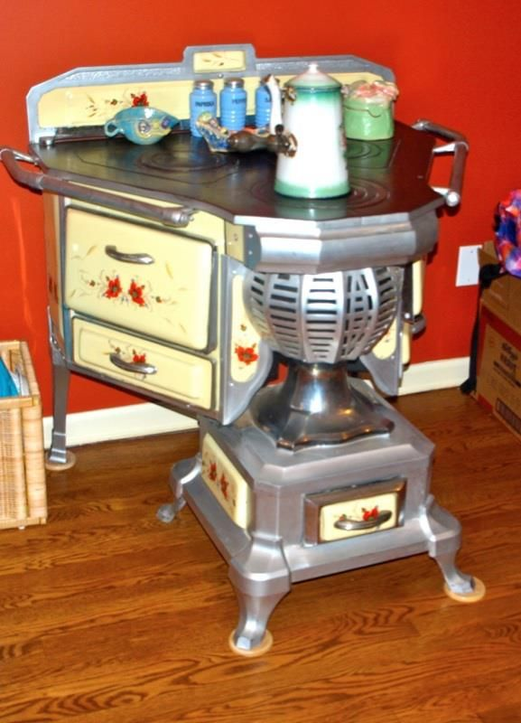 Antique Wood Coal Stove From Belgium Porcelain Must See