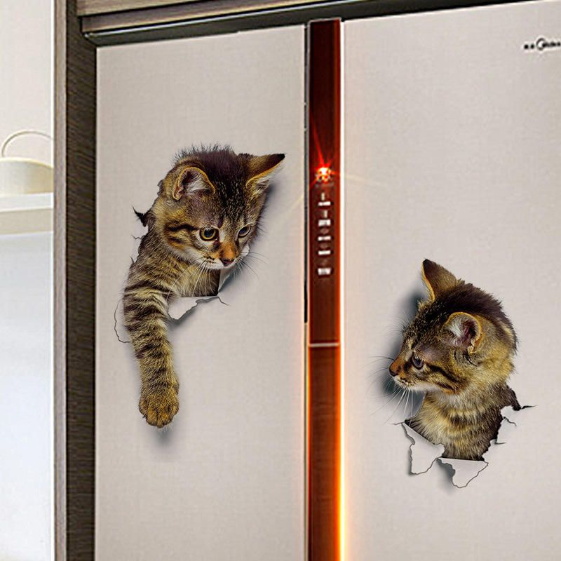 3D Wall Stickers Toilet Creative Animal Decorations Cute Cat Home Decor Artist