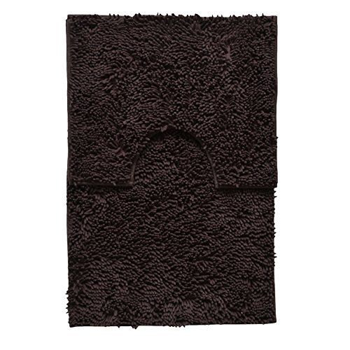 Large Brown 2 Piece High Pile Chenille Bath Mat And Pedestal Contour Rug Set