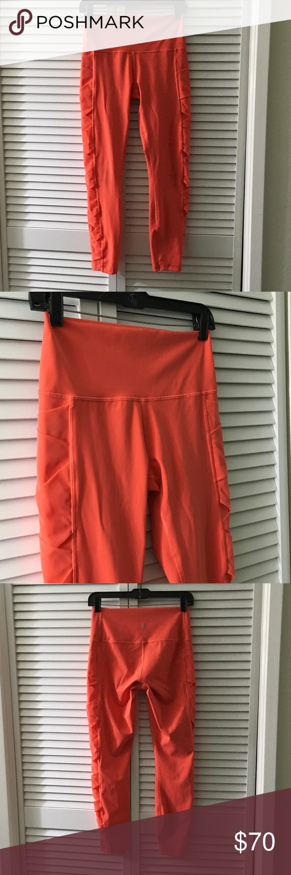 "Lululemon Rise and Flow Pant Good Condition, size 8, Luxtreme with cute mesh details along the sides, Inseam is 25"", Rise is 9"", there is a slight darkness on both knees (see last photo) lululemon athletica Pants Leggings"
