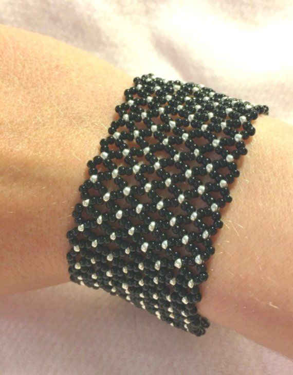 Netted Seed Bead Bracelet  Wide