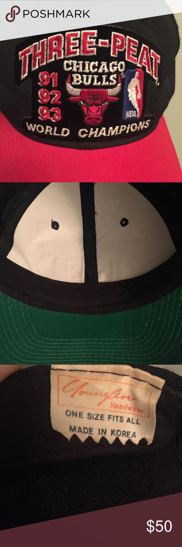 fcc9d3e8914 Chicago Bulls Three-Peat NBA Champions hat