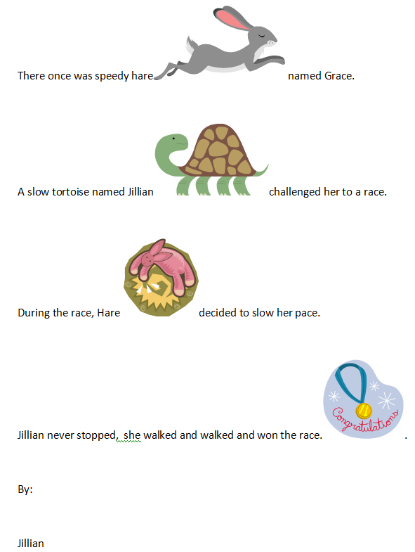 First Grade Narrative Writing Hare and Tortoise | K-5 Computer Lab ...