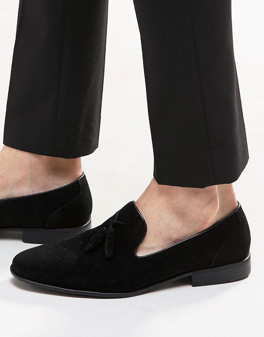 Image 1 of ASOS Tassel Loafer in Black Faux Suede  Mens Shoes