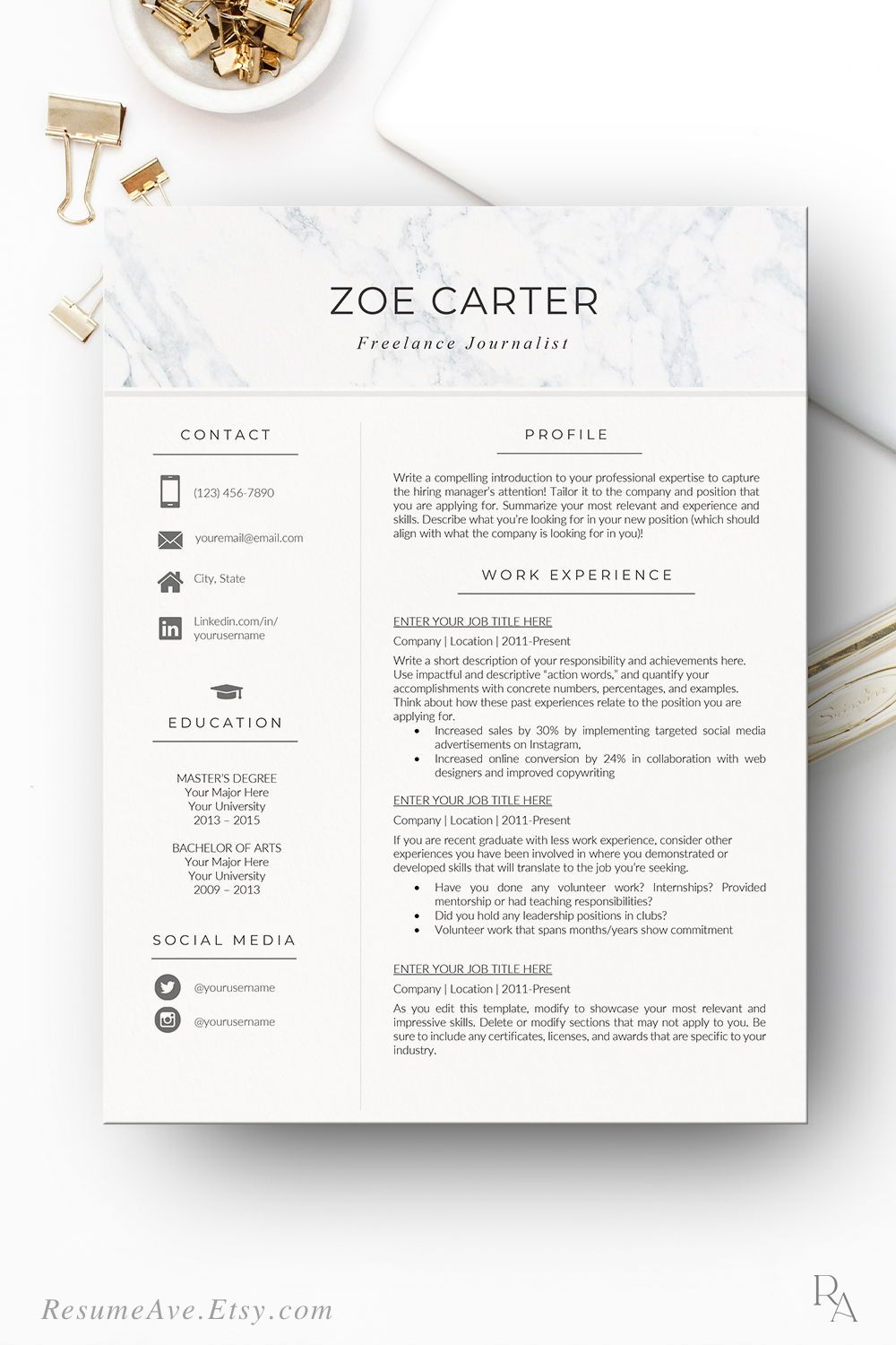 Nurse resume template with marble header, modern and