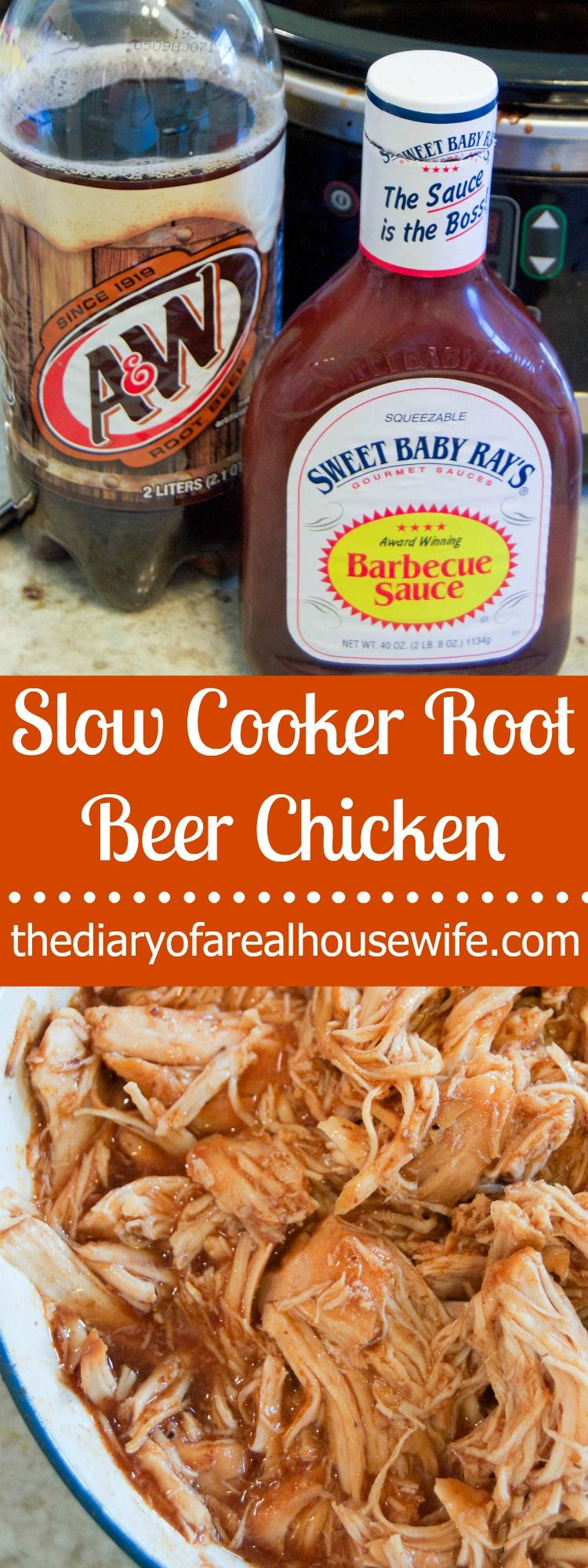 This Slow Cooker Root Beer Chicken is tender and sweet and makes the perfect shredded chicken sandwich!