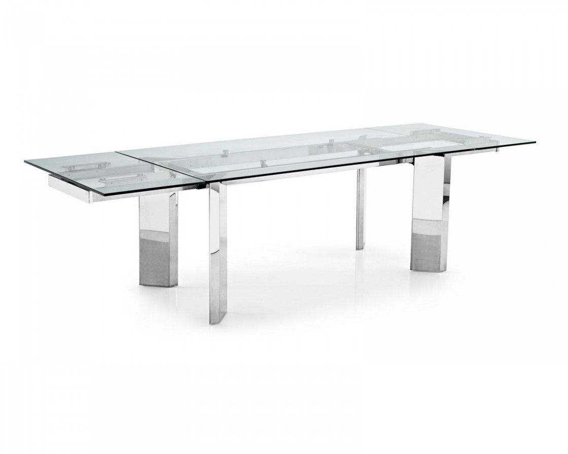 Modern Rectangle Glass Dining Table With Chrome Metal Legs