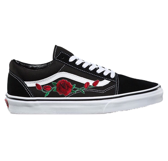 Image of Black Old Skool with Red Rose | Daily Fashion | Vans schuhe ...