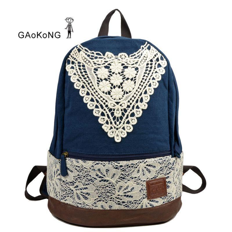 Samaz 2014 Fashionable Outdoor Canvas Backpack for Girls Korean Lace School  Backpacks for Teen girls Women(Blue) - Backpacks n BagsBackpacks n Bags  Powered ...