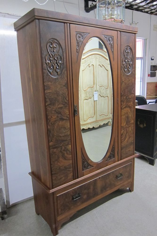 Wardrobe Antique Hand Carved Burled Walnut Beveled Mirror 1 Drawer 77 Tall Armoire