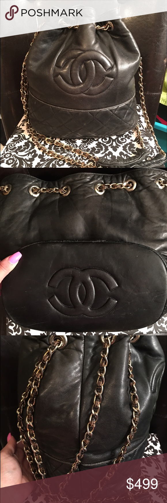 4f5e1107610b Authentic Chanel Vintage bucket bag This gorgeous Chanel black lambskin ' bucket' bag is a