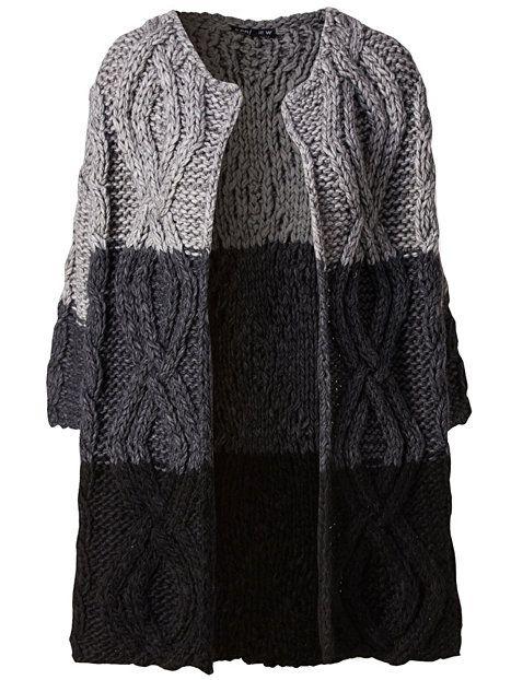 Nelly.com: Heavy Knit Cardigan - 5 Preview - kvinne - Svart/grå. Nyheter hver dag. Over 800 varemerker. Uendelig variasjon.