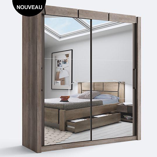 Armoire 2 portes coulissantes Douglas Chêne | Chambre/Moderne-Actuel