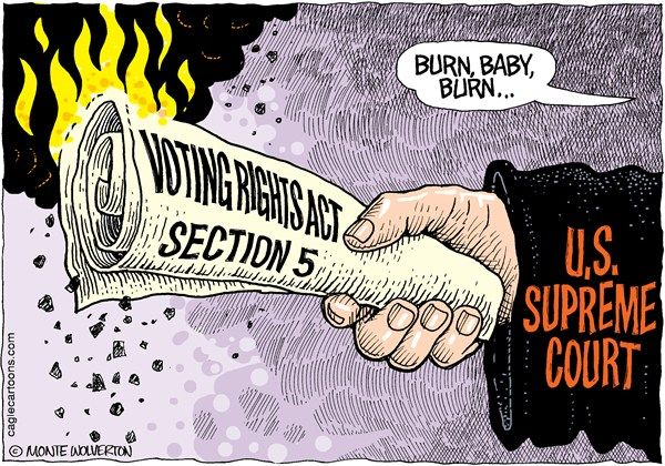 Voting rights in flames.